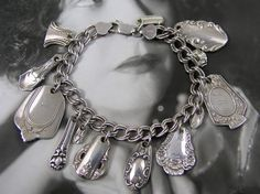 STERLING SILVERWARE CHARM Bracelet with vintage spoons