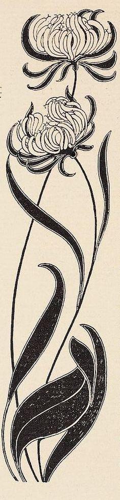 Art Nouveau flower by Josef Maria Auchentaller Fleurs Art Nouveau, Motifs Art Nouveau, Art Nouveau Design, Art Nouveau Flowers, Botanical Illustration, Illustration Art, Illustrations, Jugendstil Design, Vienna Secession