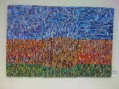 """Collage triptych,rolled paper and fabric on canvas  'Green Art' recycled magazine clippings. 54""""x36"""""""