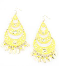 Yellow Persian Bloom Enamel Chandelier Earrings – La De Da Too