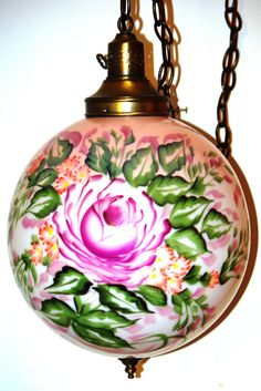 Chandelier Lighting Round Glass Pink Rose by SuzsCollectibles