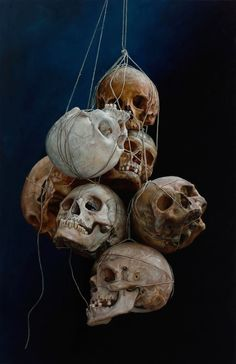 skulls painting by cindy wright but maybe.make a macabre halloween chandelier and put tea lights in the eye sockets. Memento Mori, Diy Halloween Party, Pirate Halloween Decorations, Halloween Skull, La Danse Macabre, Skull Reference, Totenkopf Tattoos, Bild Tattoos, Arte Horror