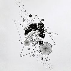 way Geometric Inspiration Space Drawings, Art Drawings Sketches, Tattoo Sketches, Watercolor Tatto, Marshmello Wallpapers, Geometric Tatto, Muster Tattoos, Kunst Tattoos, Ink Illustrations