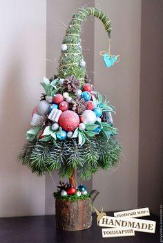 """Топиарии ручной работы. Ярмарка Мастеров - ручная работа. Купить Топиарий-елка """"ICE"""". Handmade. Комбинированный, декор на рождество"""