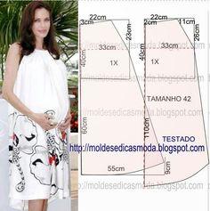 A pedido de alguma seguidora vou publicar o molde de vestido para gestante com medidas. Encontra-se no tamanho 42 na tabela de medidas Portuguesa e...