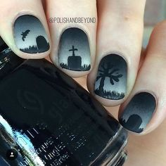 Spooky Graveyard Nails ready for #Halloween by @polishandbeyond using China Glaze 'Liquid Leather'