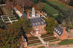 Aerial view of the Governor's Palace Colonial Williamsburg.