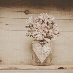 3 burlap heart mason jars. Wedding vase. Centerpiece, showers, barn wedding. Wedding centerpiece,Guestbook pen holder.