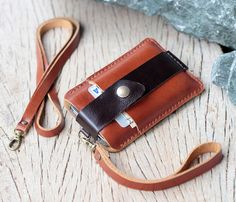 Chocolate brown leather iphone wallet with wristlet strap and Neck strap Iphone Leather Case, Leather Wallet, Leather Bags Handmade, Leather Projects, Stitching Leather, Iphone Wallet, Leather Working, Chocolate Brown, Card Wallet