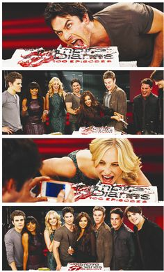 TVD Cast Celebrating the 100th Episode! Love Damon and Caroline,the cake is the best part :)
