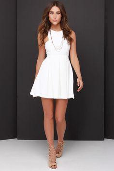 Pretty Ivory Dress - Skater Dress - Pleated Dress - $44.00