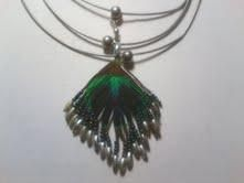 Vintage Peacock Feather with Silvertone Detail Snake Chain Necklace $14.99