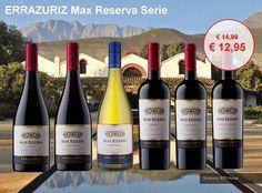 De Max Reserva Serie van Errázuriz kenmerken zich door fruitigheid en elegante houtrijping op Frans eiken. Nu in de aanbieding! http://www.flesjewijn.com/errazuriz+max+reserva+wijnen