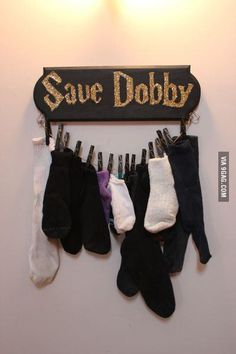 Great laundry room decor for missing socks!
