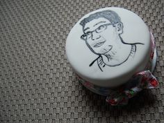 A cake made out of offcuts, featuring our friend's face - what quality birthday gifts we provide!