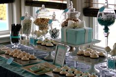 Sweets table in Tiffany blue & white. Add neutral (ecru/champagne color)