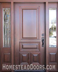 Solid Mahogany Custom Made Front Door with Sidelites - traditional - front doors - other metro - Homestead Doors, Inc. Wooden Front Door Design, Modern Front Door, Wooden Front Doors, Painted Front Doors, Front Entry, Entry Doors, Traditional Front Doors, Traditional Design, Door Design Interior