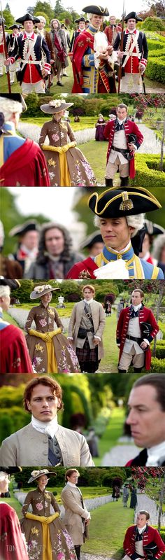 "Outlander Style Season 2, Episode 5: ""Untimely Resurrection"" Costumes, Terry Dresbach -- A TON of military uniforms, a wall representing both the ultimate 18th century idealized males and the ultimate in danger: kings and soldiers, all having a dick-measuring contest right in front of her. Suddenly, Claire's big MGM flowers look … not ridiculous so much as grossly incongruous."