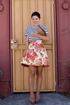 love the floral skirt - print mix