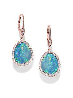 Meira T Opal, Diamond & 14K Rose Gold Drop Earrings