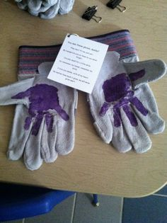 """My preschool Father's Day gift! I wrote the poem, it says:  """"see these gloves daddy? They don't fit me just yet, my handprints are on them so you never forget. I'm only small for a little while, So remember my hands and remember my smile. I love you daddy, with all my heart. No matter how much I grow, we will bet grow apart."""""""