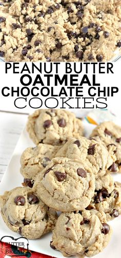 Peanut Butter Oatmeal Chocolate Chip Cookies Are All Three Of My Favorite Cookie Recipes Put Together These Thick, Chewy Cookies Are The Perfect Recipe When You Just Cant Decide What Kind Of Cookie You Want To Bake Butter With A Side Of Bread Oatmeal Cookie Recipes, Chocolate Cookie Recipes, Oatmeal Chocolate Chip Cookies, Easy Cookie Recipes, Oatmeal Peanut Butter Cookies, Ginger Cookies, Easy Recipes, Brownies, Favorite Cookie Recipe