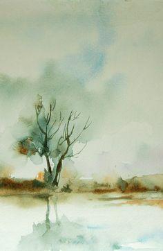 Autumn Landscape, Watercolor Painting Art Print, Nature, Watercolor Art, Landscape Painting