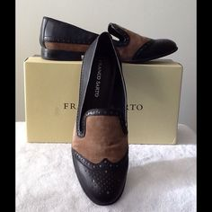 Franco Sarto Black Leather and Camel Suede Flats Wingtip style. Like new. Franco Sarto Shoes Flats & Loafers