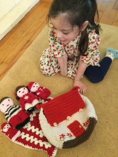 Crocheted Doll House Purses Crochet Cardigan, Knit Or Crochet, Blue Roof, Toddler Sweater, Rainbow Crochet, Yarn Tail, Creative Play, Blanket Scarf, Half Double Crochet