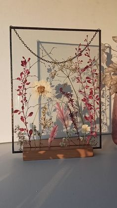 Herbarium framed - Dried, pink barberry branches with white flowers, . - Herbarium framed – Dried, pink barberry branches with white flowers floating in a stained glass f - Farmhouse Bedroom Decor, Room Decor Bedroom, Diy Room Decor, Rustic Farmhouse, Cozy Bedroom, Quirky Bedroom, Flower Frame, Flower Wall, Wall Of Flowers