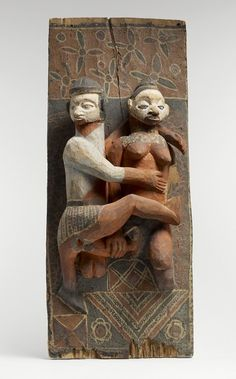 Africa | A carved wooden panel from the Nkanu peoples of DR Congo | Wood and pigments | ca. 19th century.