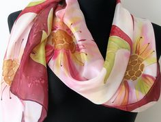 Plum floral scarf. Painted flowers silk scarf. Hand painted scarf. Plum, pink, orange, yellow, green colors. Art scarf. https://www.etsy.com/listing/279110680/plum-floral-scarf-painted-flowers-silk?ref=shop_home_active_2