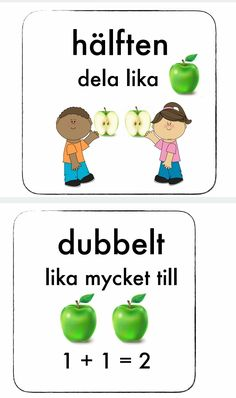 Hälften och dubbelt Teacher Education, School Teacher, Teaching Tools, Teaching Math, Preschool Math, Kindergarten, Math Doubles, Learn Swedish, Numicon