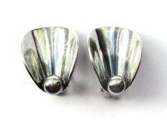 SOLD. NE From earrings Danish modernist sterling silver, Niels Erik From Denmark Scandinavian silver, vintage 1960s midmod calla lily clip ons. https://www.etsy.com/uk/listing/466800300/ne-from-earrings-danish-modernist