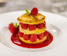 You searched for Rough puff pastry Millefeuille Recipe, Rough Puff Pastry, Full Fat Milk, Cake Tray, Mint Sauce, Mint Recipes, Raspberry Sauce, James Martin, Small Cake