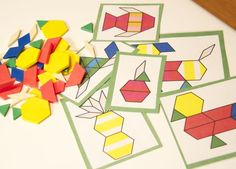 The Pattern Bag First, I pulled out some pattern blocks and I printed some pattern pages and laminated them with Con-Tact paper.
