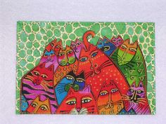 Laurel Burch Style Quilted Postcard  CATS  green by postquilts, $6.00