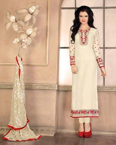 Cream straight suit with floral embellished neckline and sleeves   1. Cream poly georgette straight suit2. Comes with matching santoon bottom and chiffon dupatta3. Can be stitched upto size 42 inches
