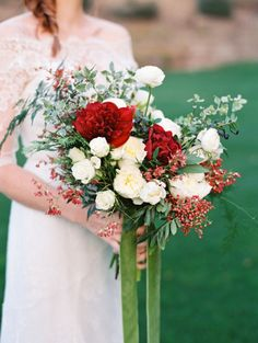Bold red and ivory bouquet: http://www.stylemepretty.com/2014/12/30/crimson-inspired-harvest-feast-shoot/ | Photography: Lavender & Twine - http://lavenderandtwine.com/