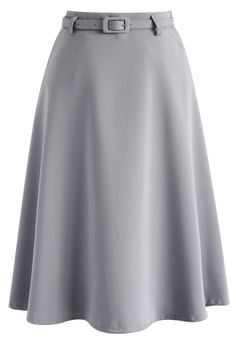 Savvy Basic Belted A-line Skirt in Grey - Retro, Indie and Unique Fashion
