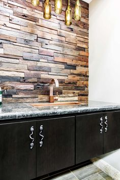 This wood tile home bar backsplash idea is uniquely crafted from the wooden hulls of antique ships long retired - Reclaimed Wood Architectural Wall Tile https://www.tileshop.com/product/620000.do