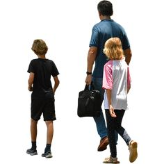 Two kids walking with their father to do family things on a sunny spring or summer day.