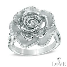 Vera Wang LOVE Collection 1/5 CT. T.W. Diamond and Blue Sapphire Rose Ring in Sterling Silver - Size 6.5