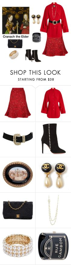 """Cranach the Elder Inspired"" by scolab ❤ liked on Polyvore featuring Oscar de la Renta, Sara Battaglia, Aquazzura, Chanel and Design Lab"