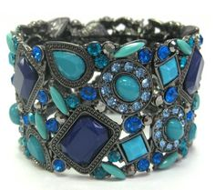 "Heirloom Finds Lush Crystal Stretch Cuff Bracelet of Blues Greens Hematite Finish Dramatic 1.5"" Wide"