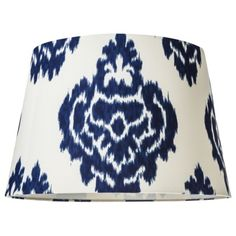 with the yellow walls. love navy and yellow Blue Ikat Print Lampshade