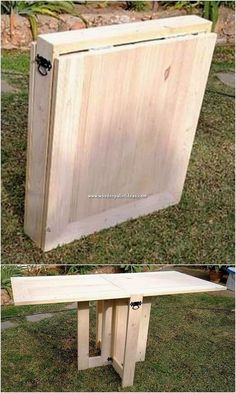 How interesting this whole wood pallet creation of folding table is! This wood pallet creation has been stylish added in the vertically shaping effect of work where you will gradually be finding the coordination of the wood pallet work being done all over Wooden Pallet Table, Diy Pallet Sofa, Wooden Pallets, Wooden Diy, Wooden Crafts, Pallet Benches, Pallet Tables, Pallet Patio, Wood Patio