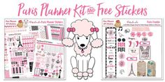 Free Printable planner stickers Paris France Pink