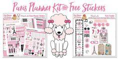 Free Printable planner stickers Paris France Pink