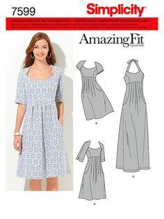 Simplicity Schnittmuster 7599 AA Damen Kleid,Habiller in 3 Variationen, Gr. 36 - 44